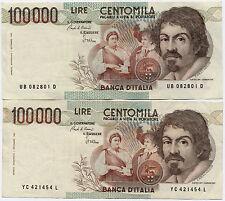 Italy * 2 x 100.000 Lire CENTOMILA BANKNOTES 1983  * Caravaggio Very Fine!!!