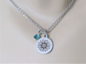 Sunflower Necklace with Birthstone, Sunflower Jewelry, Necklace for Mom, Friend