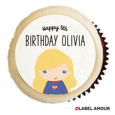 24 x PERSONALISED Supergirl Birthday Party Cupcake Edible Toppers Cake Thank You