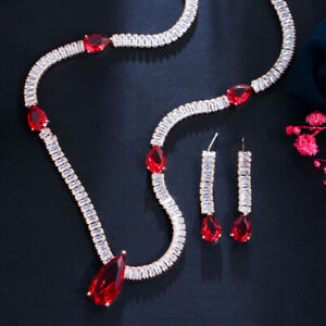 Luxury Red CZ Crystal Long Drop Necklace Earrings Jewelry Set for Ladies Party