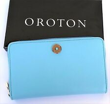 NEW OROTON Wallet Melanie Multi Pocket Zip Around Large Clutch Blue RRP$295