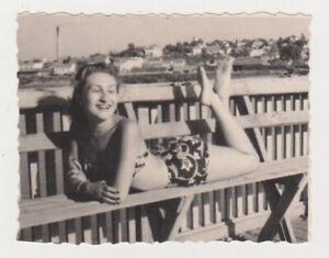 Pretty Charming Hot Leggy Young Woman Beach Bikini Swimsuit Lady Female 1960s