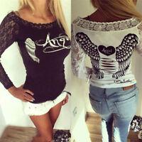 Fashion Women Sexy Long Sleeve Shirt Casual Lace Blouse Loose Cotton Top T Shirt