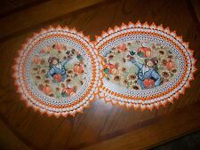 Set of 2 New Handmade Crochet Doilies--Scarecrow/ Fall pumpkin patch/ Sunflowers