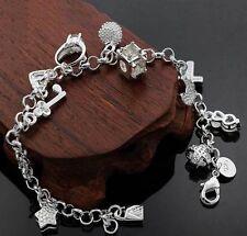 Bracciale Cuore Amore Donna Placc. Argento 925 - 13 charms + orecchini in regalo