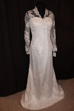 "NWT Size 18 White satin/lace long sleeved bridal gown, Jalis Bridal ""Cora"""