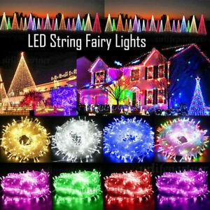 10-500LED Christmas Fairy String Lights Mains Plug In Outdoor Garden Xmas Tree