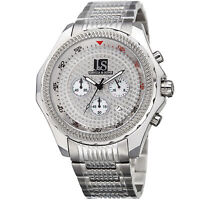 New Men's Joshua & Sons JS-43-SS Large Dial Chronograph Silver Bracelet Watch