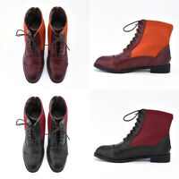 Fashion Mens Block Heel Vintage Oxfords Boots Casual Shoes Orange Wine Red Size