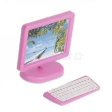 Dollhouse Miniature MODERN Piece Computer Furniture Pink for Barbie Size DOLL