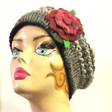 Cappello/donna/invernale/fiori/hat/basco/shabby chic/berretto/boho/rose/Natale