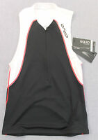 ORCO EQUIP Men Black White Red TRIATHLON Micro Fleece Chamois TRI TANK Top NWT S