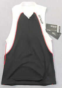 ORCO EQUIP Men Black White Red TRIATHLON Micro Fleece Chamois TRI TANK Top NWT S