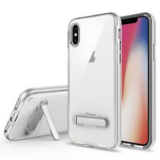 iPhone X Clear Hybrid Protector Cover w/ Magnetic Metal Stand Silver/Transparent