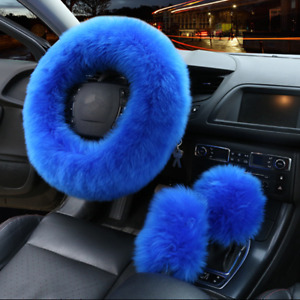 3Pcs 38cm Universal Fur Wool Furry Fluffy Thick Car Steering Wheel Cover Blue