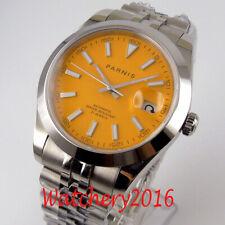 39.5mm Parnis orange dial Steel Sapphire Glass Miyota Date Automatic men's Watch