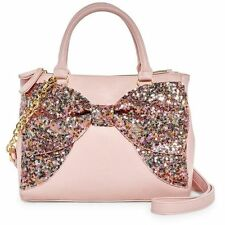 NWT Betsey Johnson Blush Pink Fancy Bow Sequined Satchel SOLD OUT EVERYWHERE !!