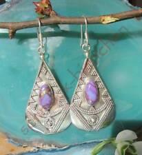 Ohrring Tropfen Antik Stil Türkis Kupfertürkis lila Sterling Silber 925