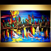 CITYSCAPE ART Mark Kazav  Large Abstract Modern Original Oil Painting CanFGN
