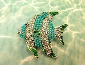 Fish Brooch Pin with Clear Crystals, Turquoise Beads, and Green Enamel - New