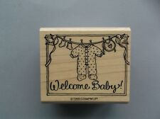 STAMPIN' UP RUBBER STAMPS WELCOME BABY NEW wood STAMP