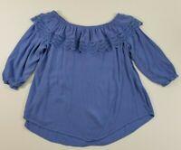 St Johns Bay Women's ¾ Sleeve Tunic Blouse 2X Plus Blue Off Shoulder Boho Flirty