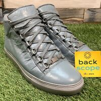 UK8 Mens Balenciaga Arena Hi Creased Leather Trainers - Designer Shoes BA41 EU42