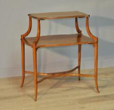 Antique Victorian Inlaid Satinwood 2-tier Occasional Etagere Window Table