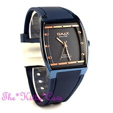 OMAX Slim Sporty SEIKO Movt Square Unisex Blue Dress Watch 4 Year D006