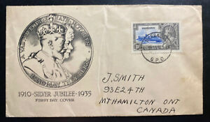 1935 Barbados First Day Cover To Canada King George V Silver Jubilee Stamp