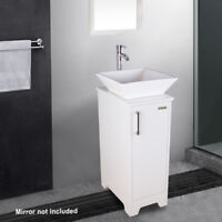"""13"""" White/Black Bathroom Small Vanity Combo Round Square Vessel Sink Faucet Set"""