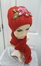 Ladies Red knitted set hat and scarf warm for Autumn/winter one size