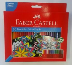 NEW Faber-Castell Colour Pencils Pack of 60 Art Set with Holder