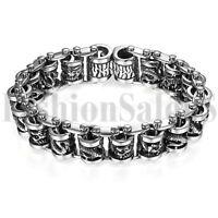 Men's Punk Heavy Stainless Steel Dragon Biker Chain Bracelet Bangle Wristband
