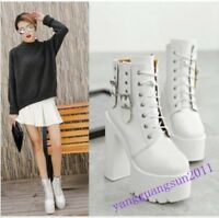 Womens Lace Up Block High Heels Platform White Buckles Ankle Boots Punk Fashion