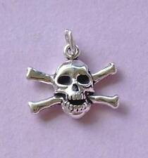 Skull and Crossbones Pirate Sign Charm Pendant  STERLING SILVER