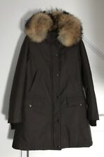 Burberry Babthorpe XS Raccoon Fur Trimmed Brown Winter Parka Coat