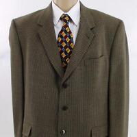 46 L Kenneth Cole Brown Gray Wool Tweed Plaid 3Btn Mens Jacket Sport Coat Blazer