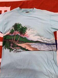 Vtg 80s Hawaii T Shirt Surf Maui '87 Beach Scene Paradise AOP Single Stitch L XL