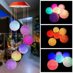 Solar Color Changing LED Ball Wind Chimes Hummingbird Garden Decor Light Lamp