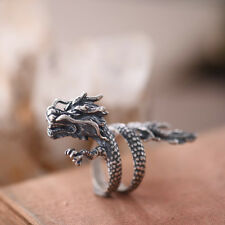 Men Women Jewelry Chinese Dragon Solid 925 Sterling Silver Ring Adjustable