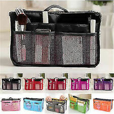 Dual Bag in Bag Cosmetic Makeup Travel Mesh Pouch Handbag Organizer(Violet)