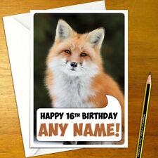 FOX Personalised Birthday Card - snow personalized wild boy girl cute happy