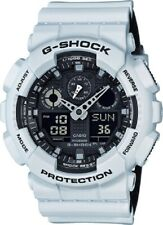 Casio G-Shock Watch White Band Black Face Shock Resistant GA100L-7A