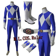 New Tricera Ranger Costume Power Rangers Zyuranger Dan Cosplay Blue Jumpsuit