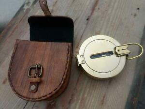 """4"""" Brass Compass Nautical Handheld Compasses with Lather Case"""