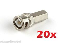 20x BNC Male Twist-on RG59 Connector for CCTV Coax Coaxial Security Cameras