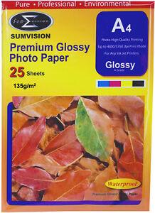 A4 Premium Glossy Sumvision Inkjet Deskjet Photo Paper 135gsm 25 sheets