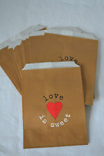 25 'LOVE IS SWEET' BROWN PAPER SWEETIE BAG WEDDING CANDY BAR PARTY JUST MY TYPE