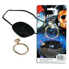 Pirate Eye Patch & Earring Fancy Dress Set Mens Kids Pirate Party Accessory P55
